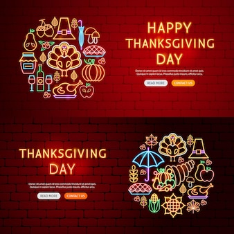 Thanksgiving day website banners. vector illustration of autumn holiday concept.