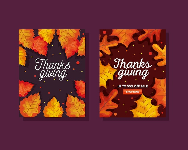 Thanksgiving day with autumn leaves in ecommerce banners design, season theme  illustration