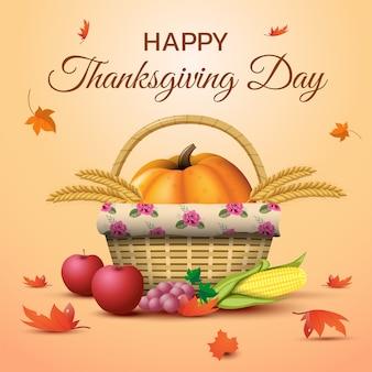 カボチャ、果物、落ち葉のある感謝祭の日