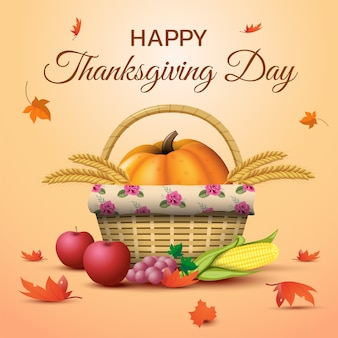 Thanksgiving day with pumpkins, fruits and falling leaves