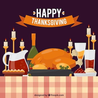 Thanksgiving dinner background with candles