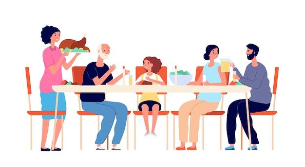 추수 감사절 저녁 식사. 만화 가족 식사, 휴일 테이블 식사. 귀여운 성인 아이들이 함께, 전통적인 크리스마스 점심 벡터 삽화. 추수 감사절 저녁 식사, 함께 축하