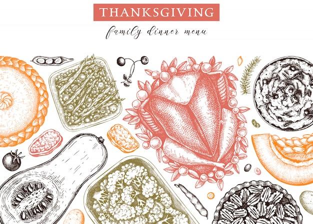 추수 감사절 저녁 식사 메뉴. 구운 칠면조, 조리 된 야채, 구운 고기, 베이킹 케이크 및 파이 스케치. 빈티지 가을 음식 프레임. 추수 감사절 배경입니다.