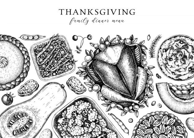 추수 감사절 저녁 메뉴. 구운 칠면조, 조리 된 야채, 구운 고기, 베이킹 케이크 및 파이 스케치. 빈티지 가을 음식 프레임. 추수 감사절 배경입니다.