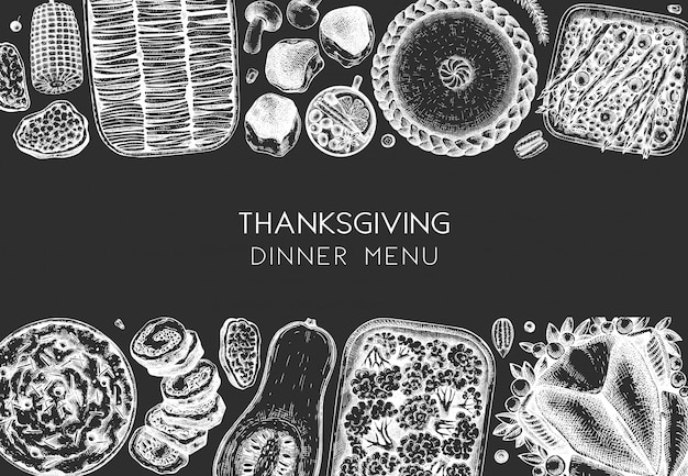 Thanksgiving dinner menu . with roasted turkey, cooked vegetables, rolled meat, baking cakes and pies sketches. vintage autumn food frame.  thanksgiving day background.