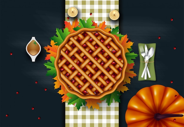 Thanksgiving dinner with turkey and all sides dishes, pumpkin pie, fall leaves and seasonal autumnal decor