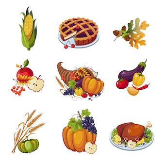 Thanksgiving elements. illustration set