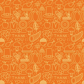 Thanksgiving elements on orange background. seamless pattern.