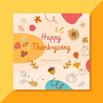 Thanksgiving facebook post template with leaves and greeting