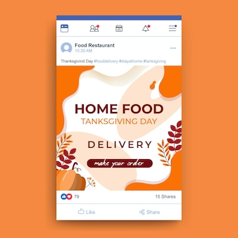 Thanksgiving facebook post Free Vector
