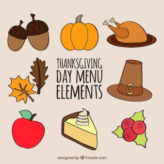 Thanksgiving flat icons collection