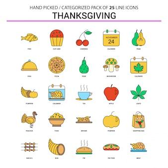 Thanksgiving flat line icon set