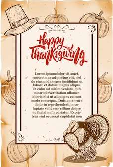 Thanksgiving flyer template. old style background with pumpkins and turkey.  elements for poster, card, .  illustration