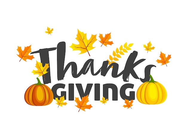 Thanksgiving font with pumpkins and autumn leaves decorated on white background.