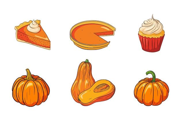 Сбор еды на день благодарения. осенний праздник набор посуды из тыквы. свежие спелые тыквы и тыквенные пироги для украшения наклеек, приглашения, меню и поздравительных открыток. премиум векторы