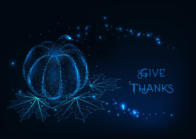 Thanksgiving greeting card template with glowing pumpkin