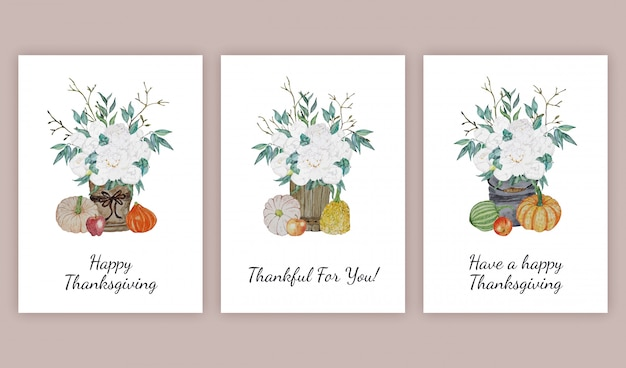 Thanksgiving greeting cards set
