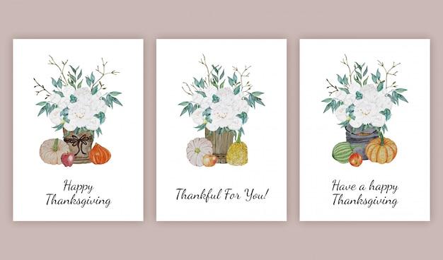 Thanksgiving greeting cards set
