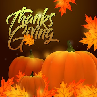 Thanksgiving greeting hand lettering label