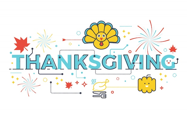 Thanksgiving holiday concept word lettering design illustration