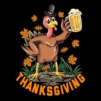 感謝祭のお祝いオクトーバーフェストでビールの大きなガラスを保持している感謝祭の休日の七面鳥