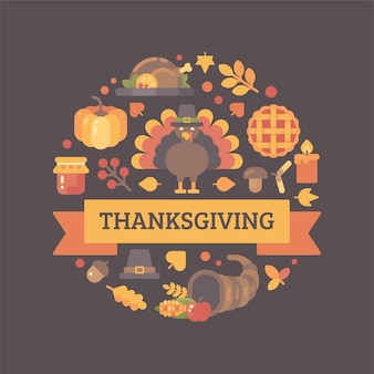 Thanksgiving icons arranged into circle. colorful autumn holiday background