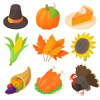 Thanksgiving icons set in cartoon style