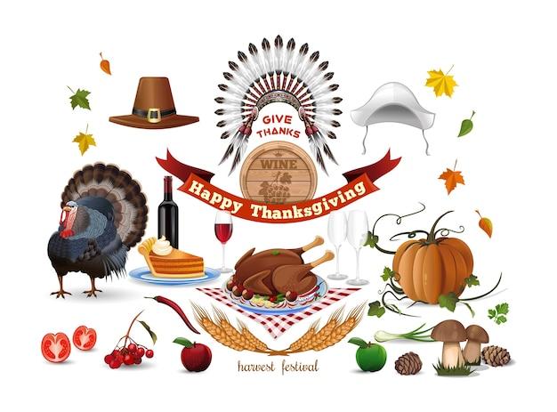 Набор иллюстраций благодарения, праздники.