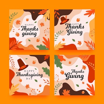 Thanksgiving instagram posts in flat design