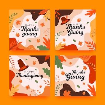 Посты в instagram на день благодарения в плоском дизайне