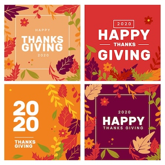 Thanksgiving instagram posts set