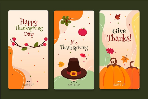 Thanksgiving instagram stories in flat design