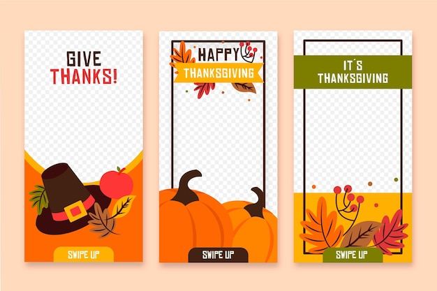 Thanksgiving instagram stories in flat design Free Vector
