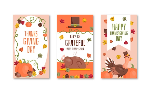 Thanksgiving instagram stories in flat design