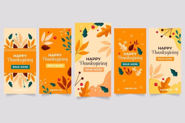 フラットなデザインの感謝祭のinstagramストーリー