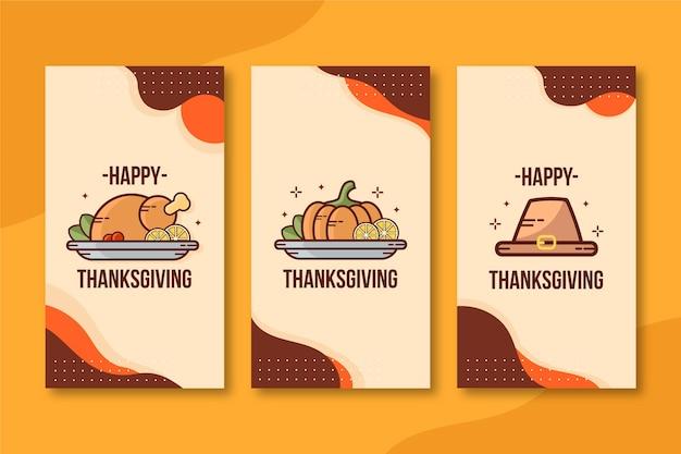 フラットなデザインの感謝祭のinstagramの物語