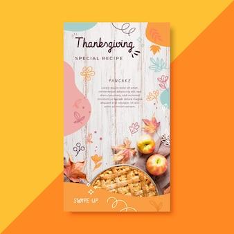 Storia di instagram del ringraziamento con ricetta della torta di mele