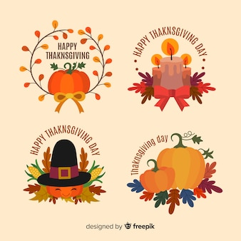 Thanksgiving label collection in flat design