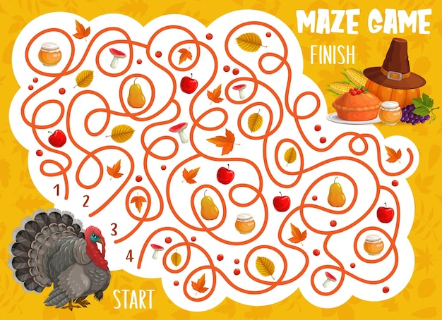 Thanksgiving labyrinth maze game, turkey bird, autumn pie, leaves and harvest. vector kids puzzle help turkey find way to fall crop. worksheet for children with tangled path and thanks giving items