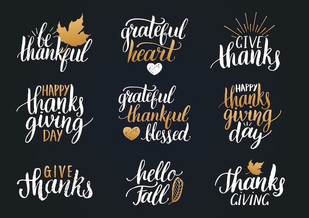 Thanksgiving lettering for invitations or festive greeting cards. handwritten calligraphy set