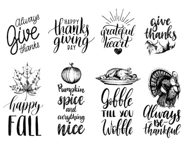 Надпись благодарения с иллюстрациями для приглашений или праздничных открыток.