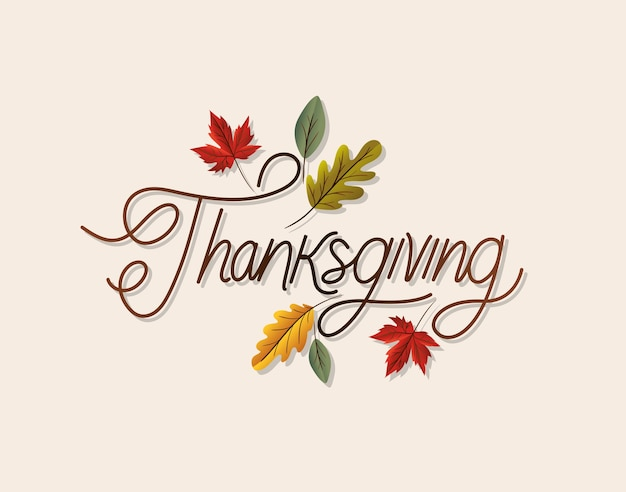 Thanksgiving lettering with leaves design