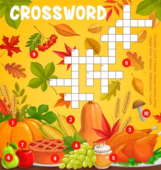 Thanksgiving meals and autumn harvest with falling leaves, vector crossword puzzle game grid. find word quiz or kids riddle worksheet with thanksgiving pumpkin, turkey, mushrooms and apple pie