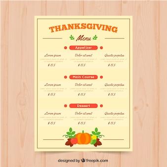 Thanksgiving menu in retro style