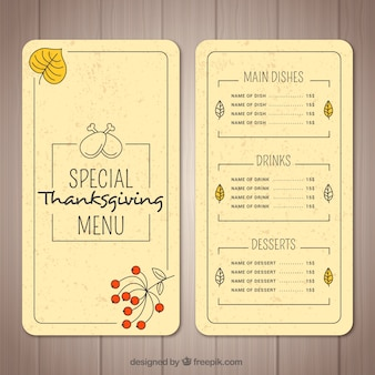 Thanksgiving menu in retro style