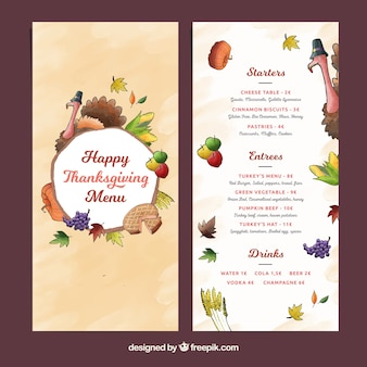 Thanksgiving menu template with turkey