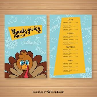 Thanksgiving menu with hand drawn turkey