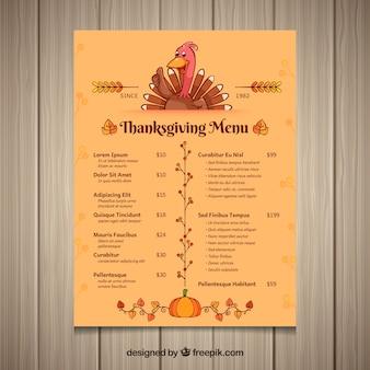 Thanksgiving menu with turkey
