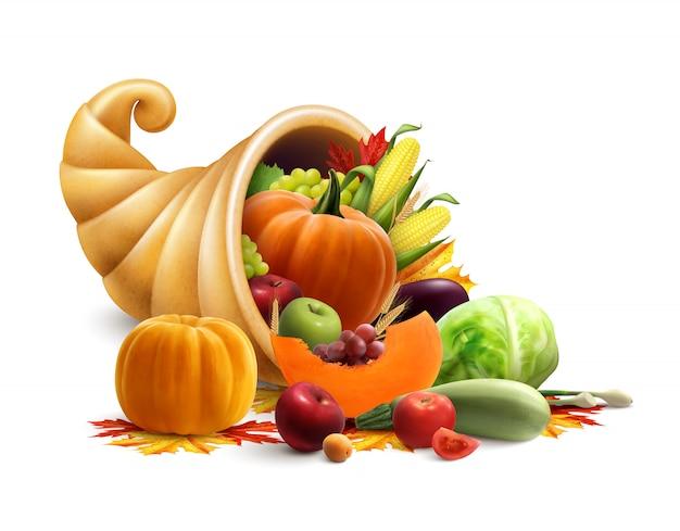 Концепция благодарения или золотого рога изобилия с рогом изобилия, полным овощей и фруктов