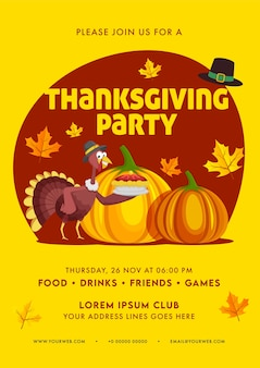 Thanksgiving party invitation, flyer design with event details in yellow and red color.